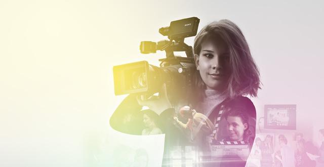 Collage med tjej som har en filmkamera på axeln.