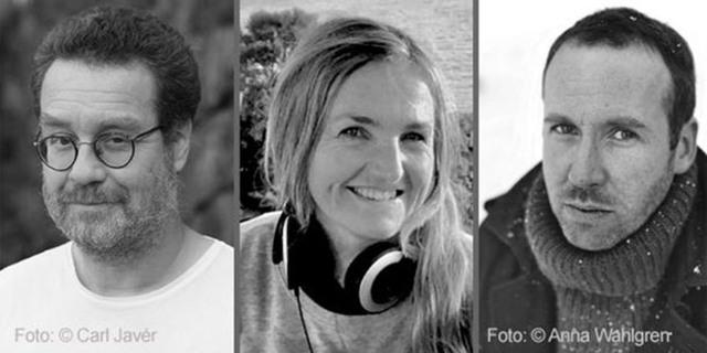 Svartvita porträtt av Fredrik Lange, Ewa Cederstam och Erik Wall Bäfving.