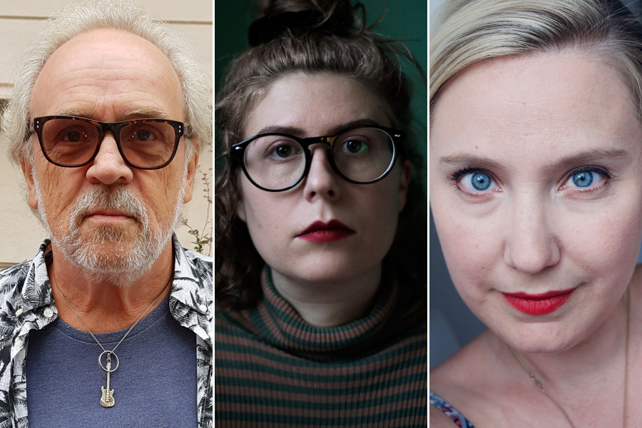 Porträttfoton av jurymedlemmarna Thomas Möller, Emma Pål Brunzell och Charlotte Berglin.