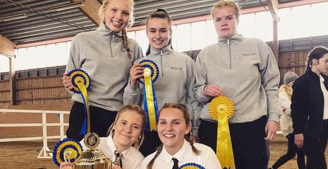 Fem tjejer från lantbruksutbildningen åk 1 visar sina priser från Skolmästerskapen i Showmanship.