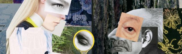 Collage med en man, en kvinna och olika mönster.