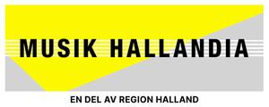 Logotyp med gula, grå och vita fält samt texten Musik Hallandia - En del av Region Halland.