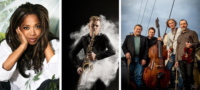 Kollage med artister som besöker Musik Hallandia hösten 2019, en kvinna, en man som spela saxofon, en grupp med fyra män som står och håller i stråkinstrument.