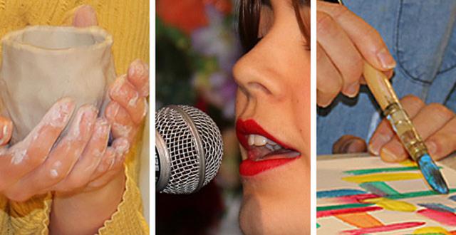 Händer som jobbar med lera, en tjej som sjunger och en hand som håller en pensel.