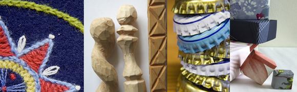 Bildcollage som visar broderi, täljda pinnar och karvsnitt, kapsyler och askar i papper.