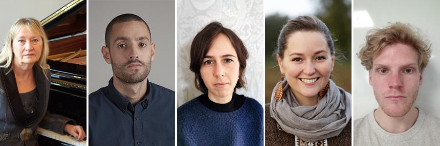 Porträttfoton av Susanna Lindeborg, Mandi Gavois, Johanna Arvidsson, Fia Forslund och Ossian Söderqvist.
