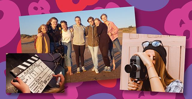 Collage med fotografier från filmkurs, gruppfoto, filmklappa och en tjej med filmkamera.