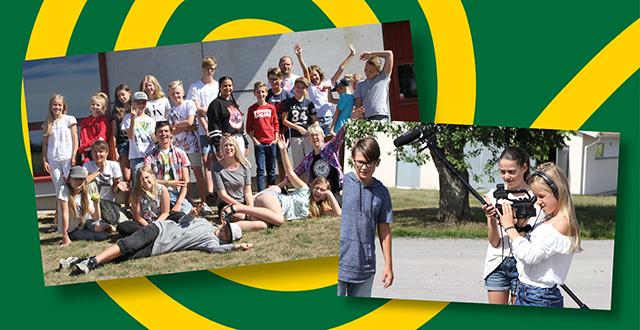 Collage med foton från filmkurs, gruppfoto med ungdomar, unga som spelar in film.