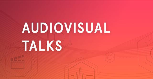 "Orangeröd färgplatta med vit text ""audiovisual talks""."