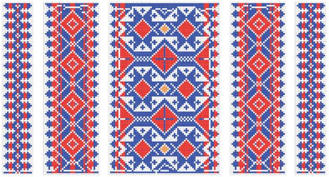 Schematisk bild med rutmönster för opphämta. med mönster i blått, rött och gult.