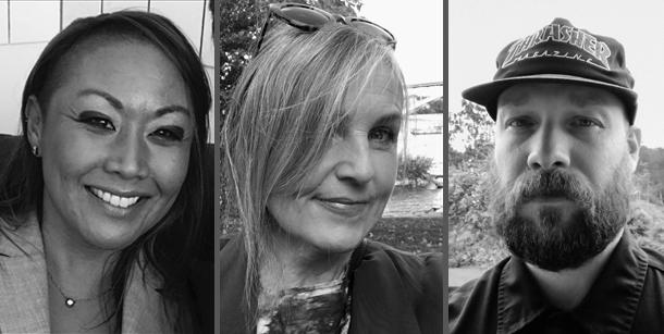 Porträttfotografier av Klara Grunning, Ewa Cederstam och Mikel Cee Karlsson.