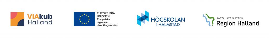 Logotyper för VIAkub Halland, Europeiska regionala utvecklingsfonden, Högskolan i Halmstad och Region Halland.