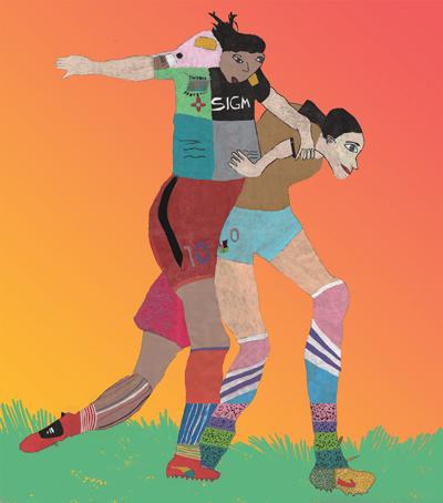 Illustration med två fotbollsspelare.