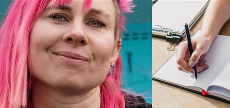 En person med långt rosa hår och en hand som skriver i en anteckningsbok.