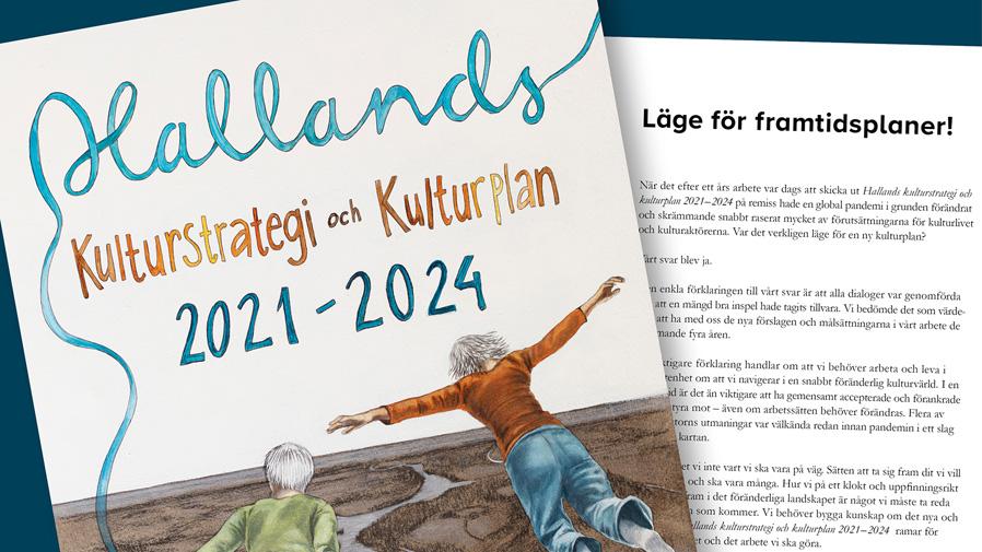 Omslagsbild och en sida i Hallands kulturstrategi och kulturplan 2021-2024.