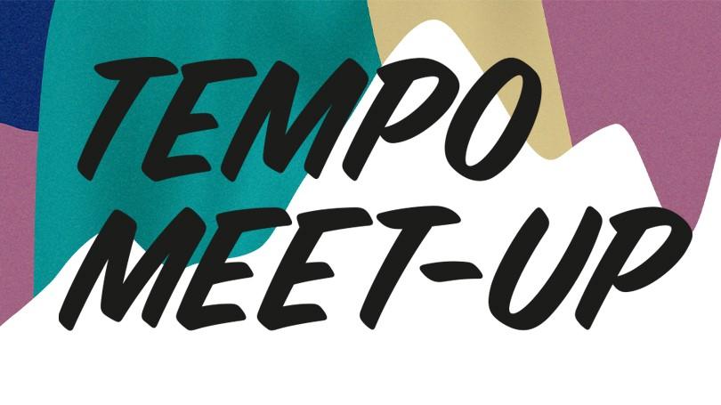 """Färgade fält och texten """"Tempo Meet-up""""."""