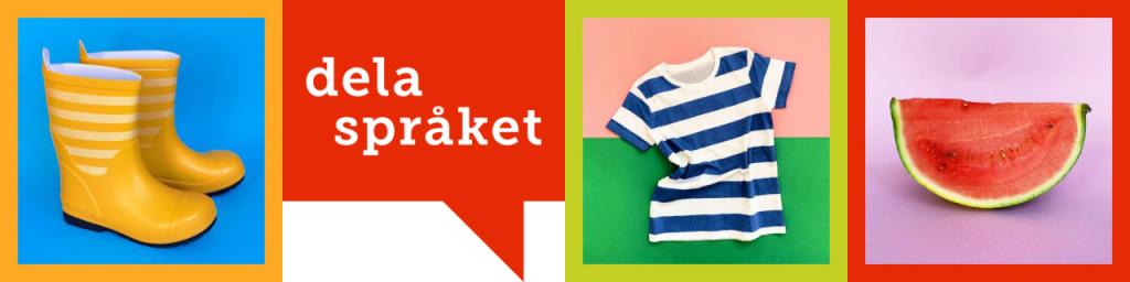 """Gummistövlar, pratbubbla med texten """"dela språket"""", t-tröja och melon."""