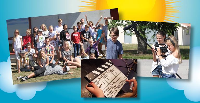 Kollage med fotografier från filmkurser med tjejer och killar.