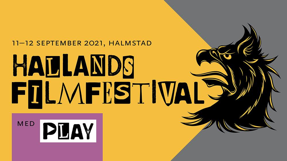 """Symbolbild med en svart grip och texten """"Hallands filmfestival med play"""""""