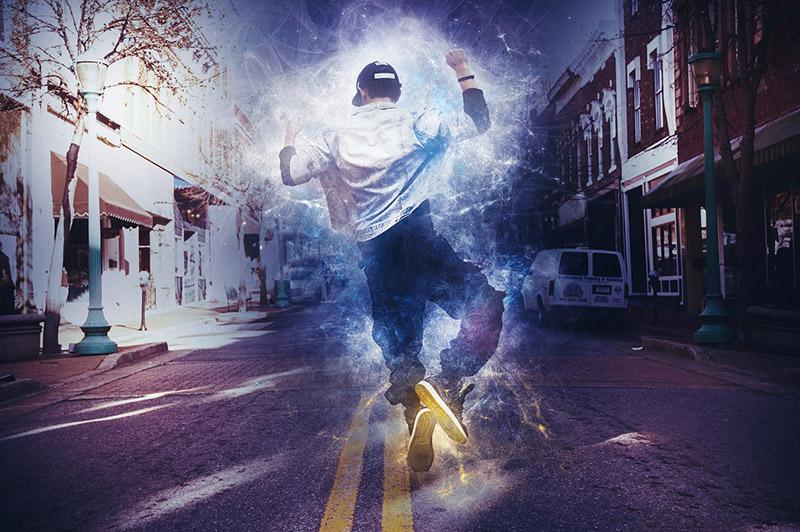 Collage med hiphop-dansare som dansar på en väg i stadsmiljö.