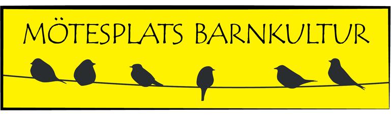 """Texten """"Mötesplats barnkultur"""" och illustration med siluetter av fåglar som sitter på telefontråd mot gul bakgrund."""