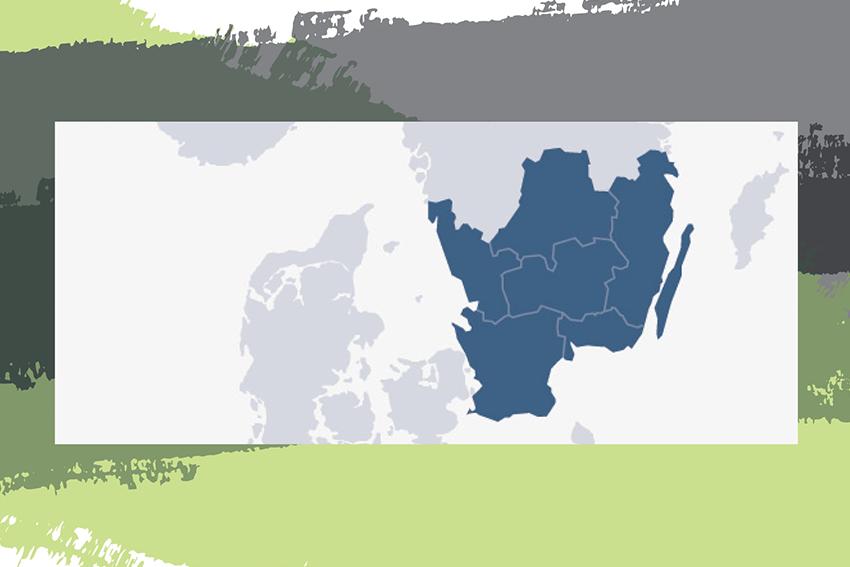 En karta där regionerna som ingår i Regionsamverkan Sydsverige är markerade; Region Blekinge, Region Halland, Region Skåne, Region Kronoberg, Region Jönköpings län och Region Kalmar län.