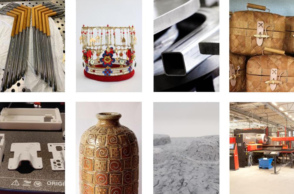 Kollage med föremål i olika material och en industrilokal.