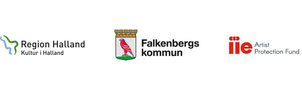 Logotyper för Region Halland, Falkenbers kommun och IIE Artist Protection Fund.