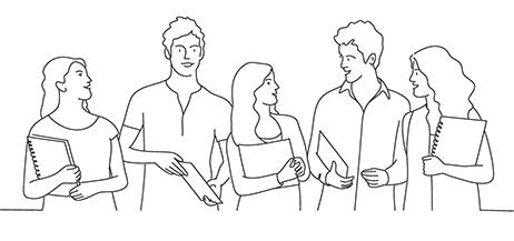Teckning som med enkla linjer visare en grupp kvinnor och män som står och samtalar.