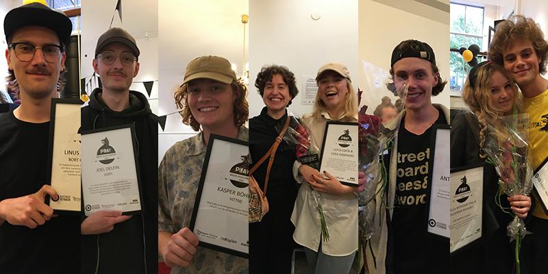 Kollage med åtta unga och glada personer som håller i diplom från PLAY kortfilmstävling.